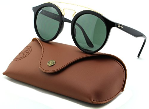 Ray-Ban RB4256 GATSBY Woman Round Sunglasses (Black Frame/Dark Green Lens 601/71, - Ban Rb4256 Ray