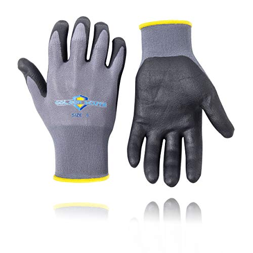 Golden Scute 3 Pairs Micro-Foamed/Ultra-Thin Nitrile Coated Work Glove, Touchscreen Technology, Safety Gloves Landscaping, Material Handling, Gardening, Assembly (Medium/Size 8)