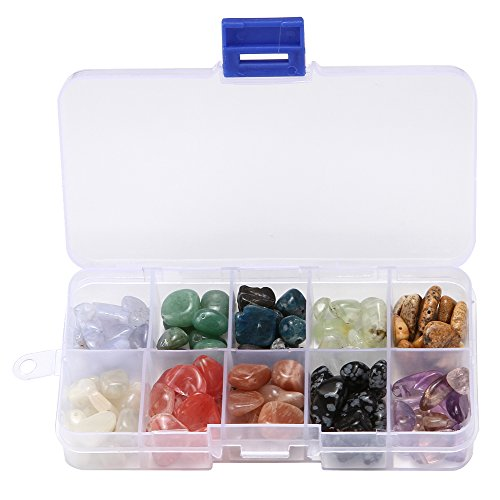 wanjin 10mm-14mm 10 Style Chips Gemstone Crystal Pieces Irregular Shaped Loose Beads for Jewelry Making Box Set Value Pack (Set B )