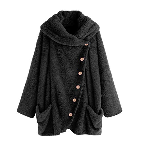 HULKAY Womens Turtleneck Plush Coat,Upgrade Long Sleeve Button Cotton Jacket Warm Slim Cloak Outwear Boho Tops Plus Size(Black 2,3XL)