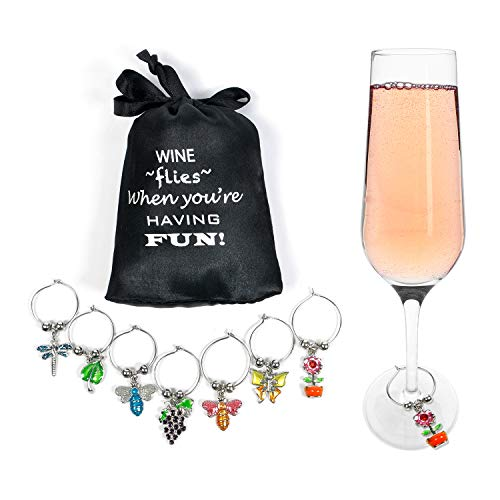 Cork & Leaf Flowers & Insects Wine Glass Markers - Set of 7, Wine Charms, Wine Accessories and Gifts, Drink Markers, Wine Glass Charms, Includes a Black Sateen Storage Bag