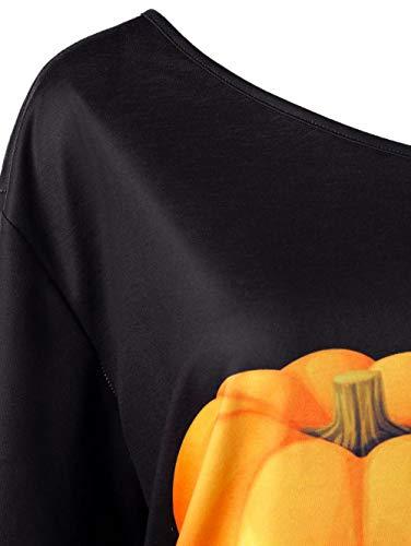 Tops Tee Automne Subfamily Chemisier imprim Longues Haut Halloween Hiver Manches et S Blouse Noir Haut Shirt XXL ppPq0Y