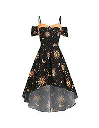 HHmei Summer New Adjustable Shoulder Strap Star Sun and Moon Women Dress