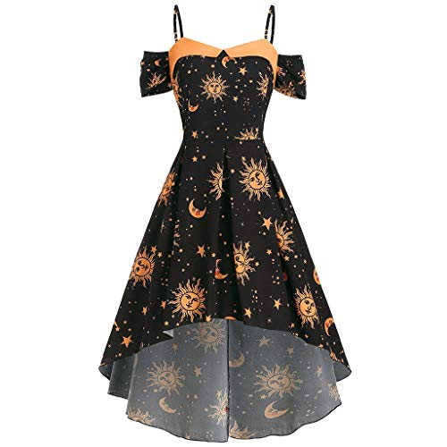 ♡Londony♡ Womens Starry Night Sky Moon Stars Space Constellations Planets Mrs Dress,Sleeveless Casual Floral Sundress Black