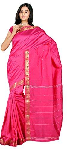 Indian Women's Traditional Art Silk Saree Sari Drape Top Veil fabric Magenta