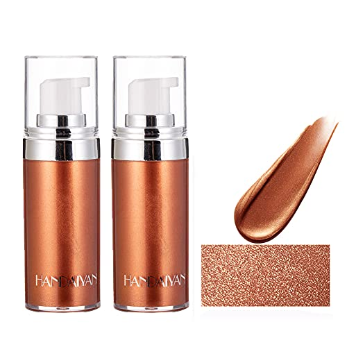 MEICOLY 2 Packs Body Bronzer Liquid, Highlight Makeup Luminizer Smooth Shine Shimmer Bronzer Oil Glow Liquid Foundation…