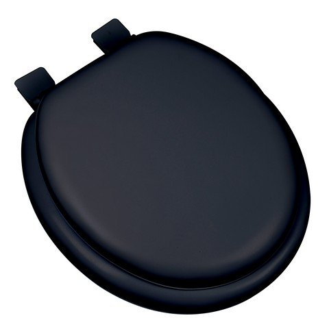 Bath Dcor 6F1R2-90 Premium Soft Round Closed Front Toilet Seat with Heavy Duty Molded Wood Core, Black