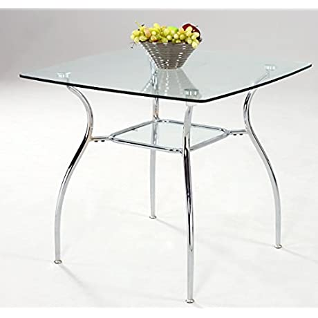 Milan Dahlia DT Clear Chrome Square Glass Dining Table