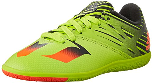 adidas Performance Messi 15.3 Indoor Soccer Shoe (Little Kid/Big Kid),Semi Solar Slime/Solar Red/Black,5 M US Big Kid