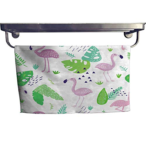 pical Seamless Pattern with Cute Flamingo and Palm Leaves Childish Summer Background for Wallpaper Fabric Wrapping Paper Decoration Vector Illustration Towel W 14