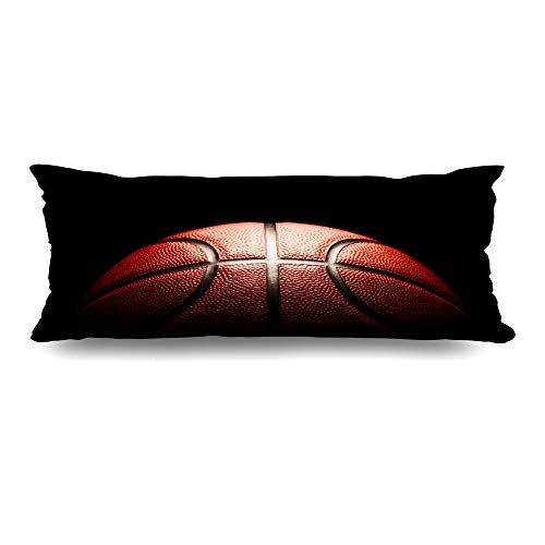 Ahawoso Body Pillows Cover 20x54 Inches Dunk Orange Court Basketball Sports Recreation Black Ball Detail Hoop Macro Design Basket Decorative Zippered Pillow Case Home Decor Pillowcase