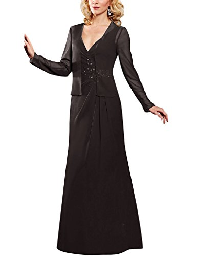 H.S.D Beads Chiffon Long Sleeves Jacket Mother Of The Bride Dresses Formal Gowns