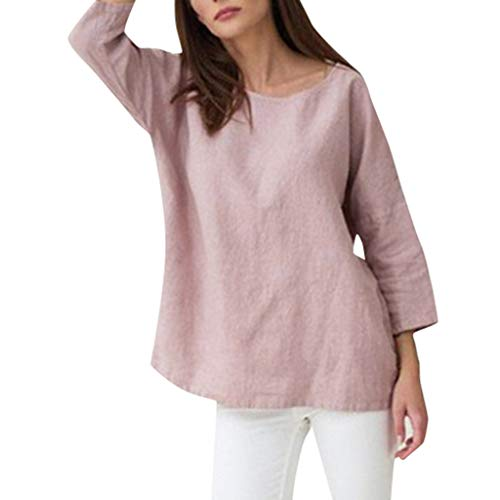 GHrcvdhw Women Casual Pure Color T-Shirt O Neck Summer Half Sleeve Loose Cotton Shirt Plus Size Tops Pink ()