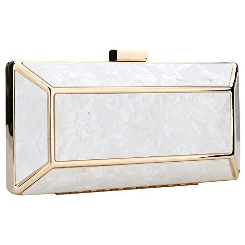 bag Women Shoulder Wedding Handbag Acrylic Evening Clutch Clutches Party White qXnx5BU