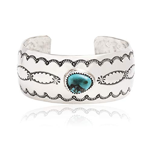 Navajo Turquoise Bracelet Jewelry - $250 Retail Tag Sun Nickel Authentic Handmade Navajo Native American Natural Turquoise Cuff Bracelet