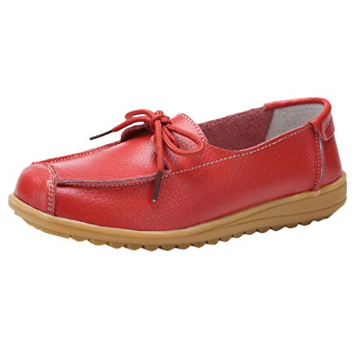 Toimothcn Artificial Leather Loafers Women'S Casual Driving Moccasins Flats Shoes Soft Nurs Maternity Sanda(Red1,US:7.5) ()