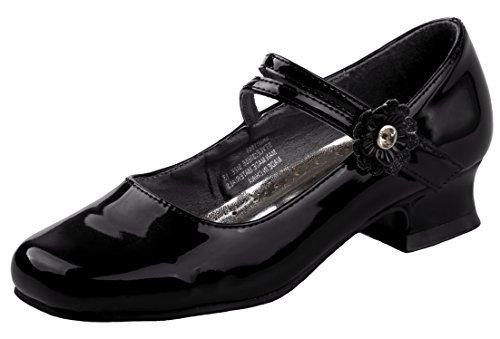 Josmo Girl\'s Dressy Patent Low Heel Shoe with Glitter and Stone Buckle (Little Kid, Big Kid) (7 M US Big Kid, Black Patent)' ()
