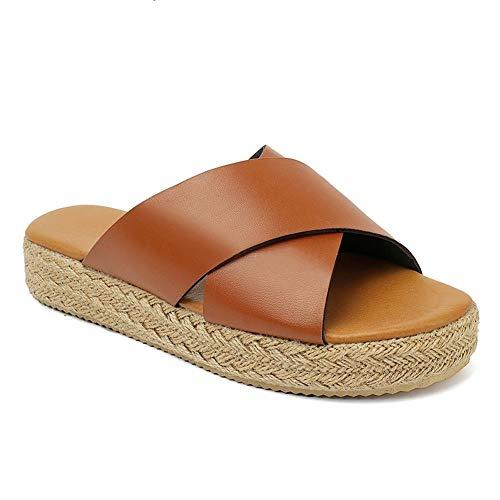 VANDIMI Espadrilles Wedges for Women Platform Slides Sandals Summer Strappy Leather Cross Slip on Shoes Open Toe Slippers Brown