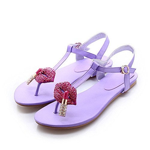 AgooLar Women's Buckle Open Toe No Heel Blend Materials Solid Sandals Lightpurple Ps554xmNV