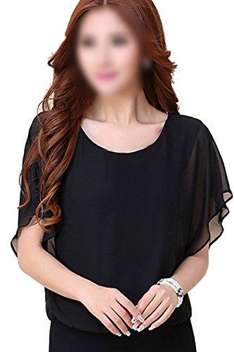 SODIAL(R)Womens Karriere Suessigkeit-Farben Chiffon Oberteile angepasst Fledermausaermeln Shirt Clubwear Bluse Schwarz L