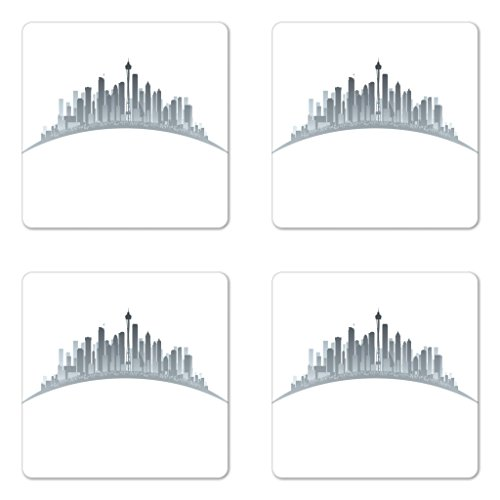 Lunarable Seattle Coaster Set of 4, Silhouette of Washington City Tourist Attraction Space Needle in the Middle, Square Hardboard Gloss Coasters for Drinks, Grey and Pale Grey