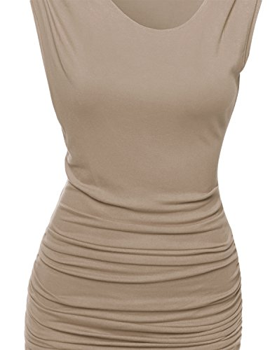 with Awdsd0624 s Sleeveless Women Tuck Awesome21 Dress Midi Side Mocha wOq7gxHU