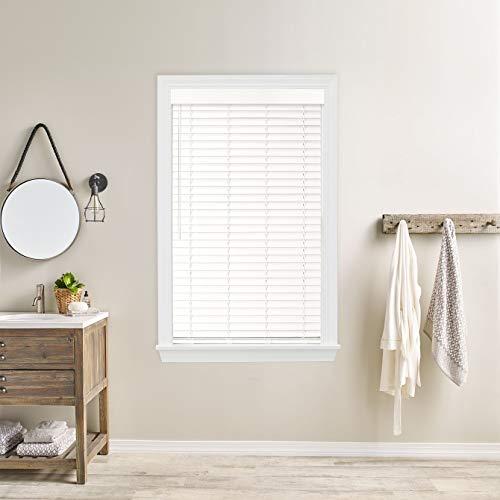 "2"" Bravada Simple Selections Premium Cordless Faux Wood Blinds, Coconut White 63Wx72L"