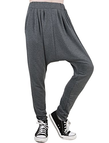 uxcell Men Novelty Pattern Slant Pockets Detail Harem Trousers W36/38 Dark Grey