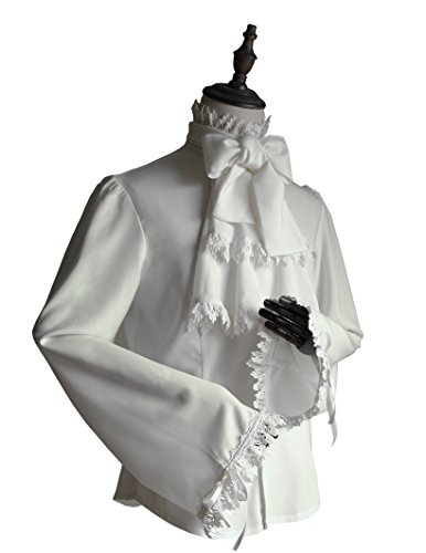 Vintage Shirt Pirate Shirt Gothic Men's Shirt Jabot Set White Shirt -