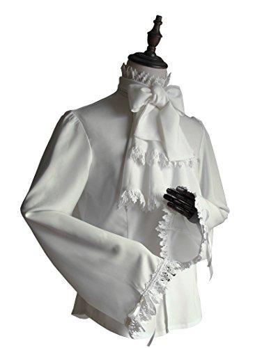 Vintage Shirt Pirate Shirt Gothic Men's Shirt Jabot Set White Shirt (Medium)]()