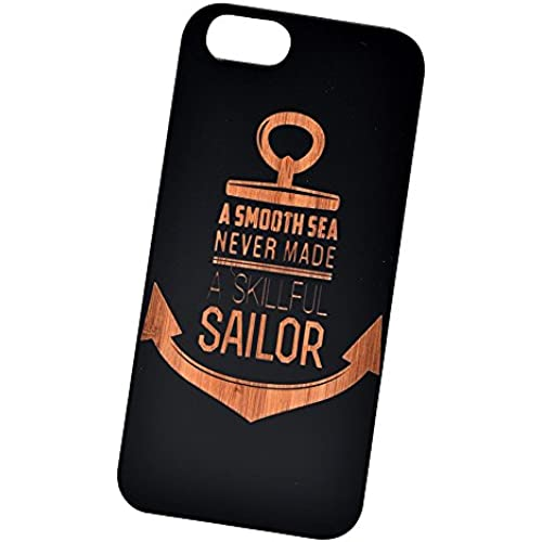 Sailor Anchor Engraved Black Bamboo Cover for iPhone and Samsung phones Wood - Samsung Galaxy s7 Edge Sales