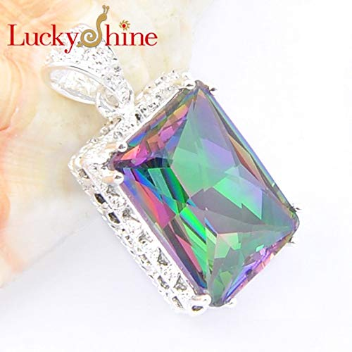 (Crystal Pendants | Silver Dangle | Pendant | Necklace | Vintage Square/Rainbow Created)
