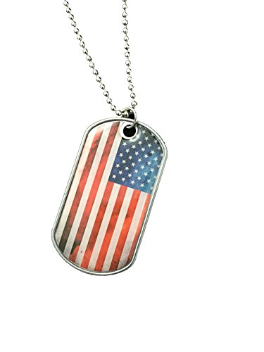 Charm Pendant Flag Usa (American Flag USA Dog Tags July 4th Stainless Steel Necklace Key Ring (USA))