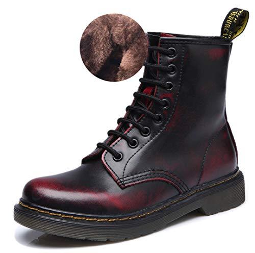 Bottes Boots Bottines Lacets Ubeauty Flattie Rouge Vin Classiques Sport Martin Velours Chaussures Femme À Cqnd8w4ng