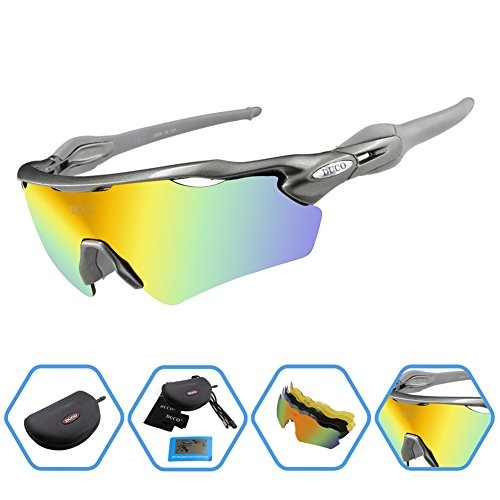 Duco POLARIZED Sports Sunglasses Cycling Glasses With 5 Interchangeable Lenses - Lens Re Glasses