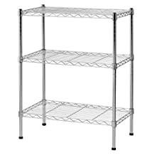 Sandusky WS241430 Heavy Duty Steel Adjustable Wire Shelving, 24-Inch Width x 30-Inch Height x 14-Inch Depth, 3 Shelves, Chrome