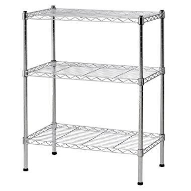 Sandusky WS241430 Heavy Duty Steel Adjustable Wire Shelving, 24  Width x 30  Height x 14  Depth, 3 Shelves, Chrome