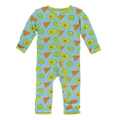 Kickee Pants Little Boys Print Coverall with Zipper - Avocado, Chips and Lime, 9-12 Months