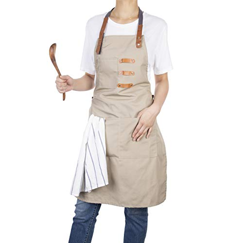 Neoviva Kitchen Bib Apron with 3 Tool Pockets, Adjustable and Removal Leather Straps Work Apron for Unisex Adults, Style Drew, Bleached Sand Beige