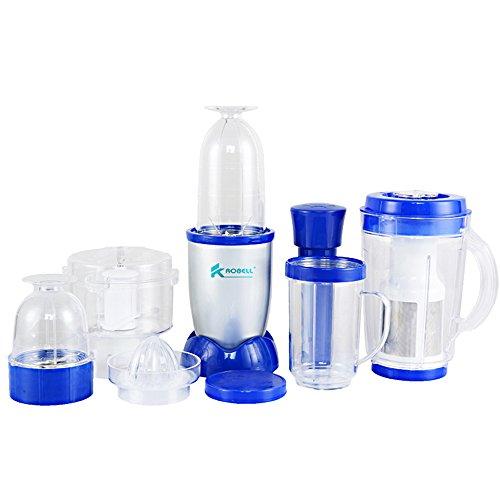 AWLLY Polyvalent Électrique Blender, Chopper, Hachoir Bébé Pré Alimentaire 3 Lames 4 Tasses Différentes Bleu
