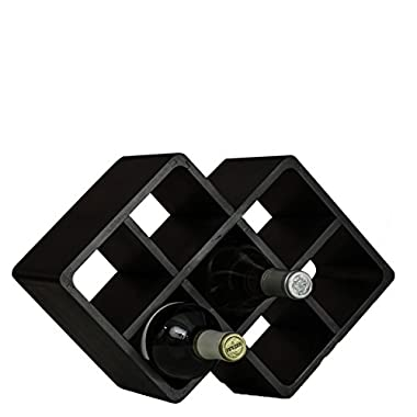 [Improved] Superiore Livello Firenze 8 Bottle Bamboo Countertop Wine Rack Modern Design for Easy Free Standing Table Top Storage, Natural Bamboo in Black Wooden Color and Solid Construction