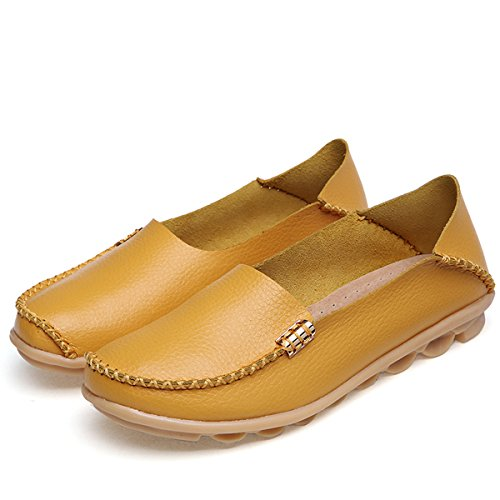 Fisca Women's Shoes Loafer Yellow Flat Moccasins Leather gO7qgWA8