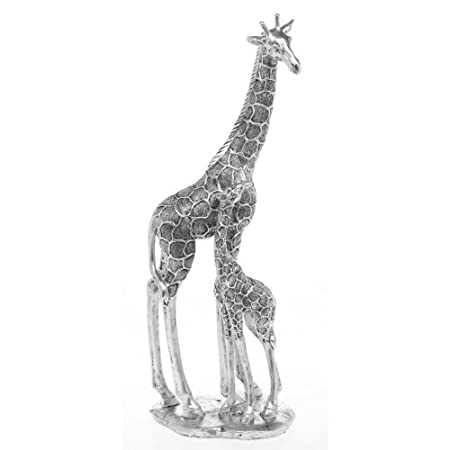 Fantastic Large Silver Giraffe Mother Baby Figure Ornament New
