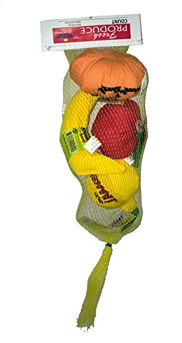 CoolCyberCats Produce Pack: Yeowww! 100% Organic Catnip Apple, Lemon, Banana, Pumpkin Cat Toys in Netting 100% Organic Catnip Banana