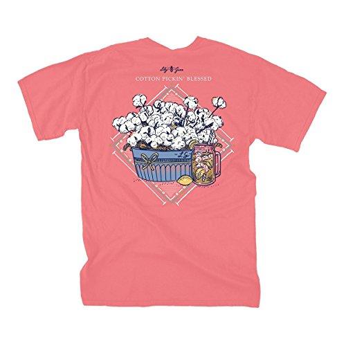 (Lily Grace Southern Cotton - Salmon   Women's Topside Cotton T-Shirt)