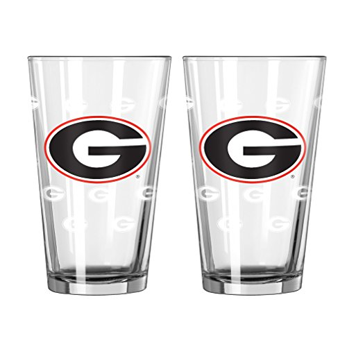 NCAA Georgia Bulldogs Satin Etch Pint Glass, 16-ounce, 2-Pack