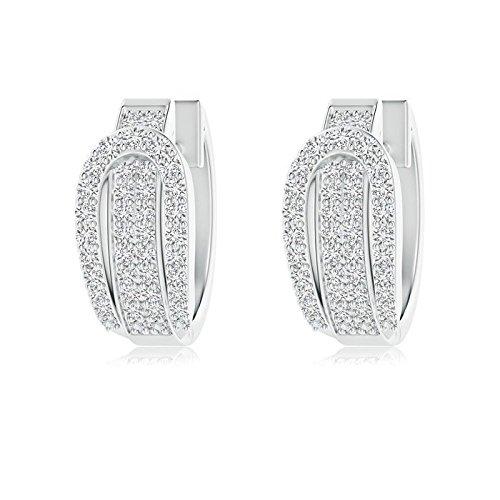 Belt Buckle Style Pave-Set Diamond Hinged Hoop Earrings in Platinum (1.3mm Diamond)