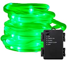 RUICHEN Battery Powered Tube String Light,16.5FT 50 LED Strip Rope Fairy Lights Waterproof 5 Modes For Outdoor Garden Wedding Party Christmas Xmas Decoration(Green)