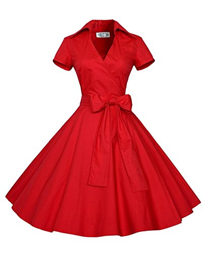 Rouge Manches de Col Robe Vintage Cocktail Midi Robe Robe V Femme Swing 5UIPwqP
