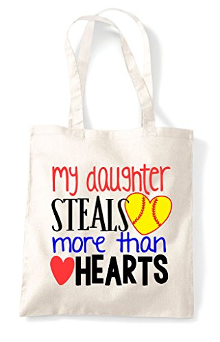 Steals More Than Sports Tote Shopper Heart Hearts My Daughter Natural Bag Baseball qZCxw5HS